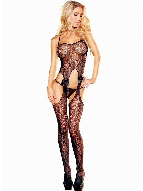 Lapdance See Through Lace Crotchless Bodystocking, Black, hi-res