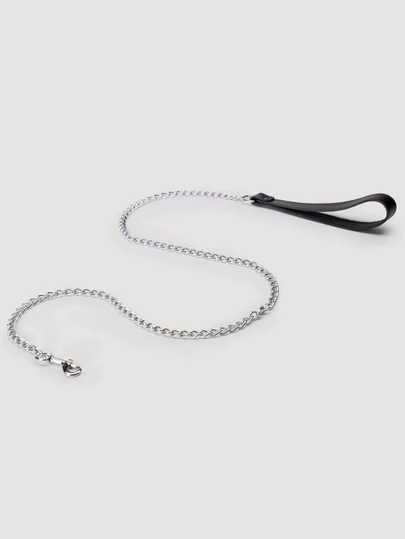 DOMINIX Deluxe Leather Handle Chain Leash, Silver, hi-res