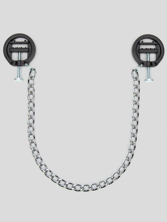 DOMINIX Deluxe Adjustable Bite Nipple Clamps with Chain, Silver, hi-res