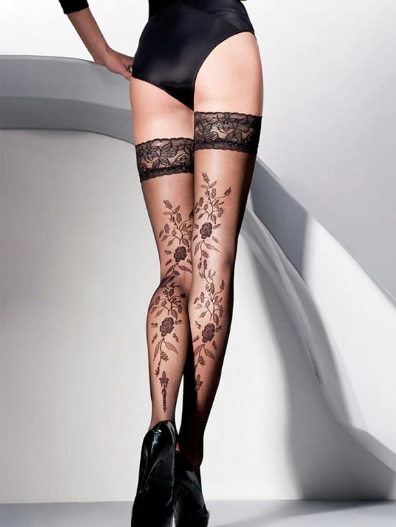 Gabriella Vera Lace Top Floral Patterned Hold-Ups, Black, hi-res
