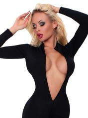 Whisper of the Night Crotchless Catsuit, Black, hi-res