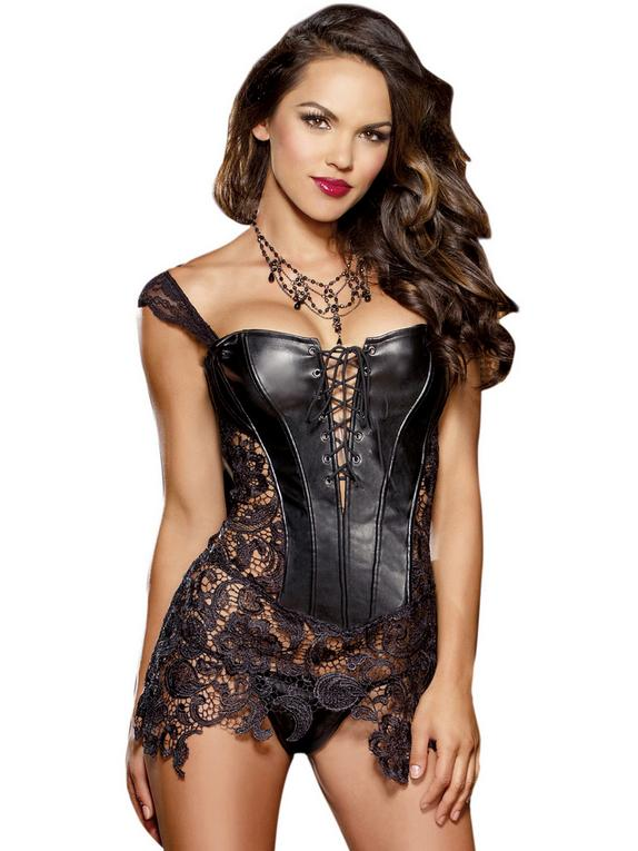 Dreamgirl Beyoncé Faux Leather and Lace Corset, Black, hi-res