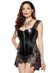 Dreamgirl Beyoncé Faux Leather and Lace Corset, Black, hi-res