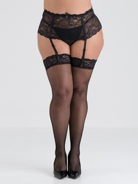 Lovehoney Plus Size Fishnet Lace Top Thigh High Stockings