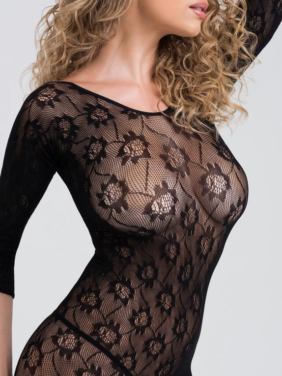 Lovehoney Boudoir Babe Lace Crotchless Bodystocking, Black, hi-res
