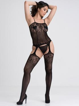 Bodystocking de Encaje y Rejilla Negro Lovehoney