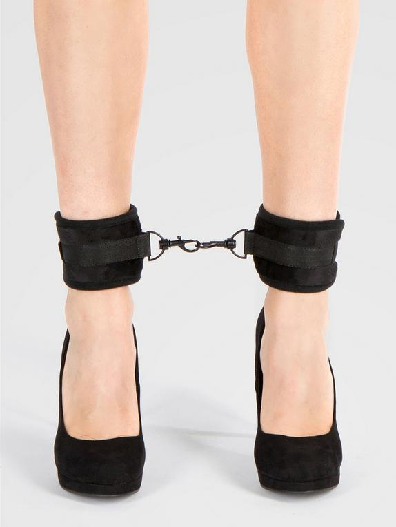 Bondage Boutique Soft Ankle Cuffs, Black, hi-res