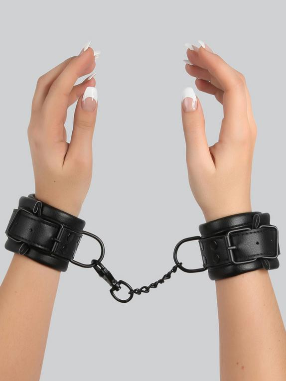 Bondage Boutique Faux Leather Wrist Cuffs, Black, hi-res
