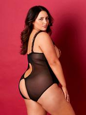 Oh La La Cheri Curves Plus Size Open Cup Crotchless Lace Teddy, Black, hi-res