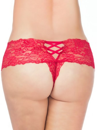Oh La La Cheri Curves Plus Size Red Lace Crotchless Panties