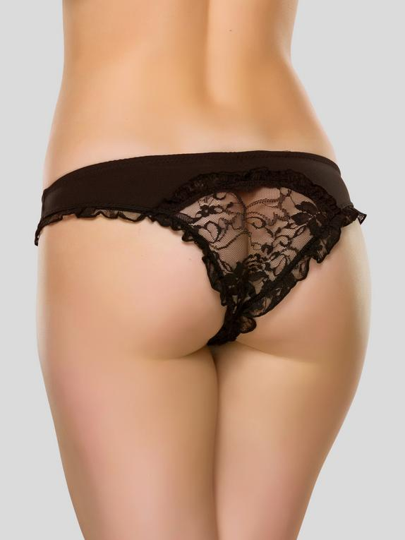 Lovehoney Crotchless Black Lace-Back Panties, Black, hi-res