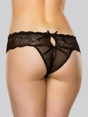Lovehoney Bow Detail Crotchless Lace Thong, Black, hi-res