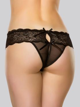 Lovehoney Crotchless Lace Thong with Satin Bows