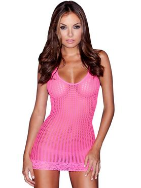 Lapdance Halterneck Pink Crochet Mini Dress