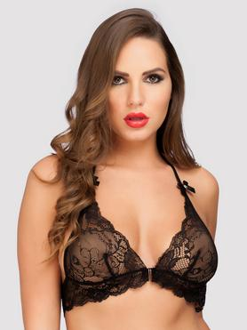 Lovehoney Love Me Lace Halter Bra Black