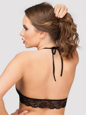 Lovehoney Love Me Lace Halter Bra Black, Black, hi-res