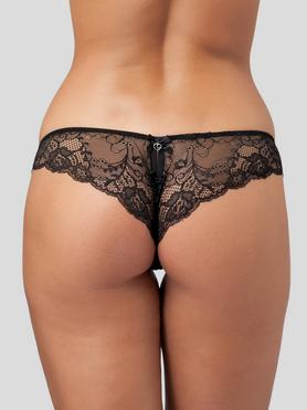 Lovehoney Love Me Lace Crotchless Brazilian Knickers Black