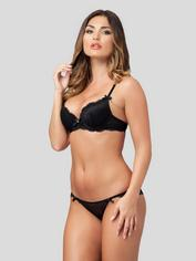 Lovehoney Love Me Lace Crotchless Brazilian Panties Black, Black, hi-res