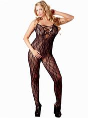 Mandy Mystery Plus Size Lace Crotchless Bodystocking, Black, hi-res