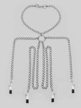 Metal Chain Harness with Nipple and Labia Clamps