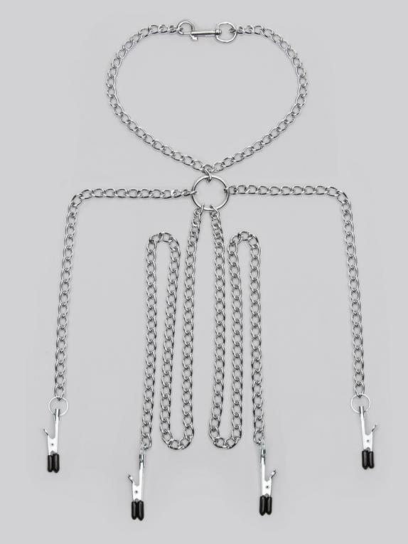 Metal Chain Harness with Nipple and Labia Clamps, Silver, hi-res
