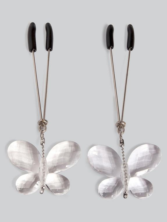 Bad Kitty Butterfly Nipple Clamps, Silver, hi-res
