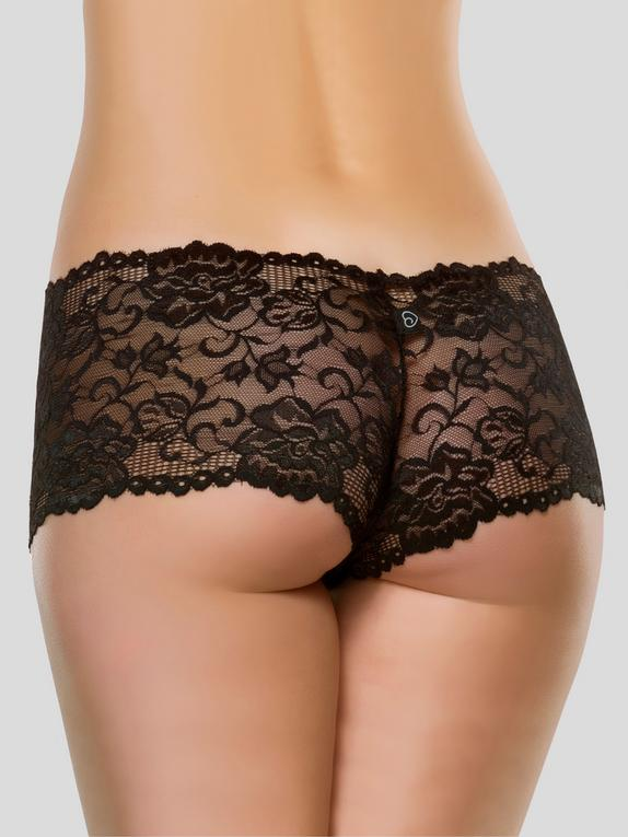 Lovehoney Flirty Black Lace Shorts, Black, hi-res