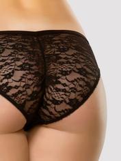 Lovehoney Flirty Black Lace Panties, Black, hi-res