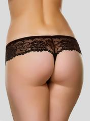 Lovehoney Flirty Plum Lace Thong , Black, hi-res