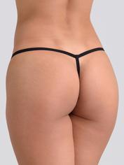 Lovehoney Flirty Black Lace G-String, Black, hi-res