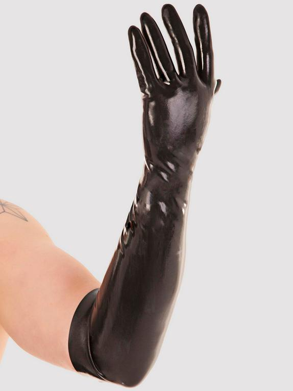 Renegade Rubber Long Latex Fisting Gloves, Black, hi-res