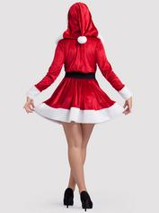 Hooded Sexy Santa Dress with Belt, Red, hi-res