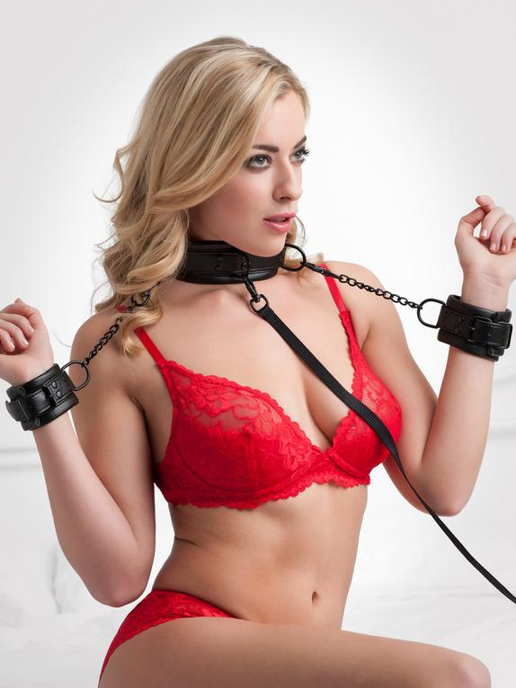 Bondage Boutique Faux Leather Collar and Cuff Set, Black, hi-res