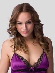 Lovehoney Satin and Lace Plum Babydoll Set, Purple, hi-res