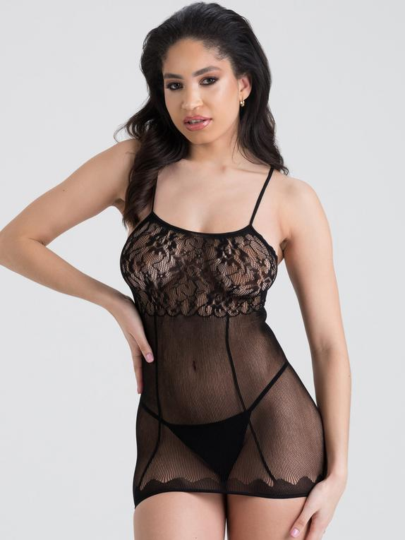 Lovehoney Fishnet and Lace Mini Dress, Black, hi-res
