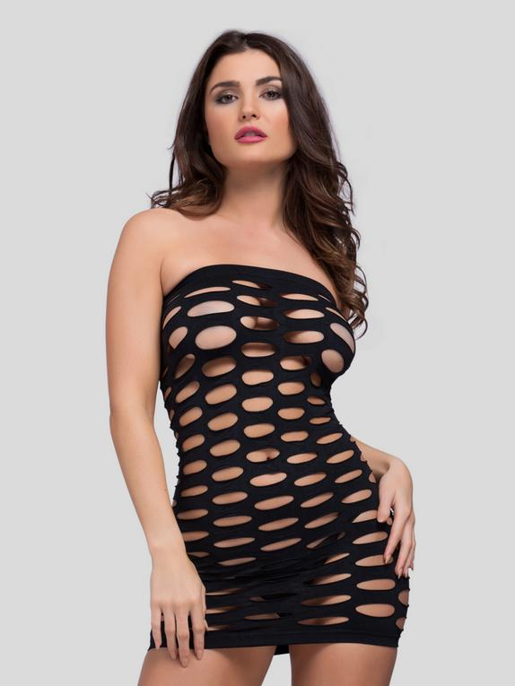 Lovehoney Sexy Cut Out Strapless Mini Dress, Black, hi-res