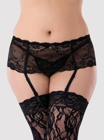 Lovehoney Plus Size Love Me Lace Deep Garter Belt Black