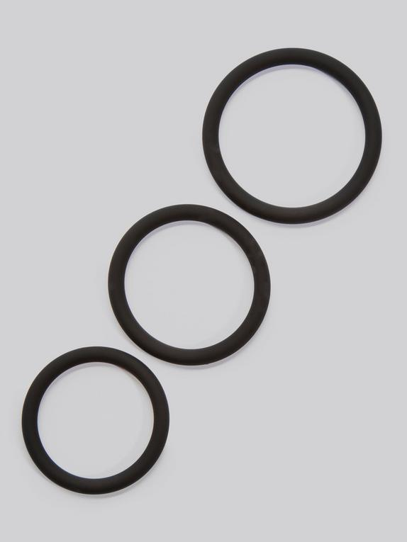 Lovehoney Get Hard Stretchy Silicone Cock Ring Set (3 Count), Black, hi-res