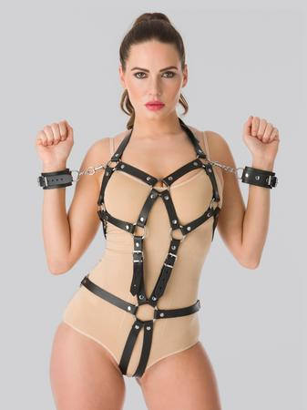 DOMINIX Deluxe Leather Open Cup Body Harness with Cuffs