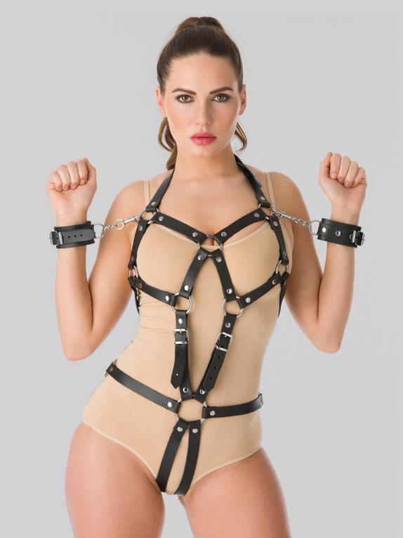 DOMINIX Deluxe Leather Open Cup Body Harness with Cuffs, Black, hi-res