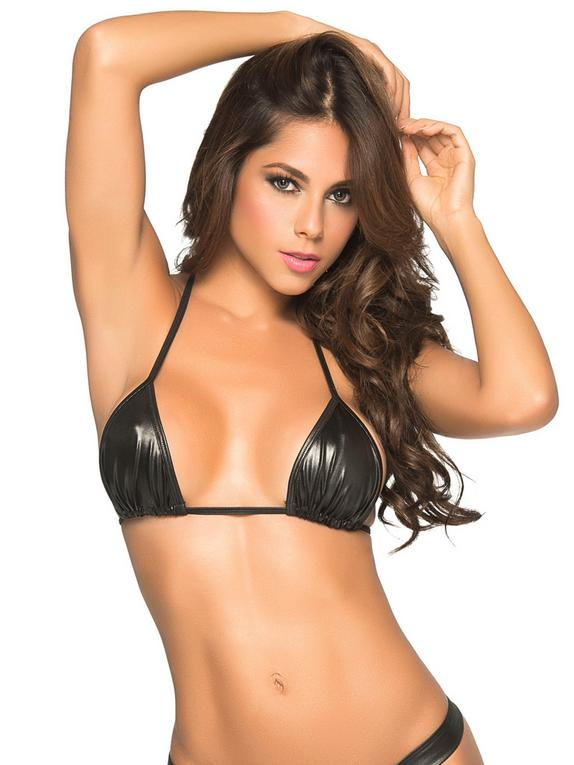 Mapale Wet Look Triangle Bra, Black, hi-res