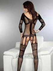 Livia Corsetti Corra Fishnet Suspender Crotchless Bodystocking, Black, hi-res