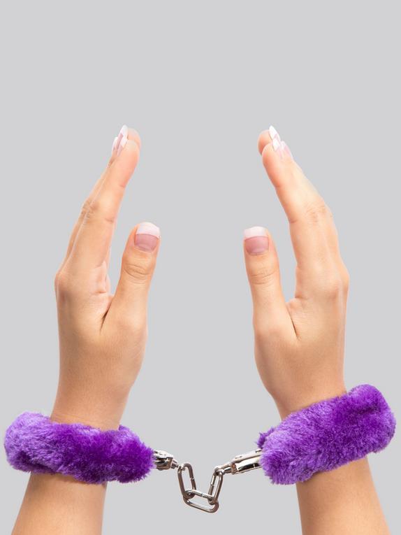 Lovehoney Black Furry Handcuffs, Purple, hi-res