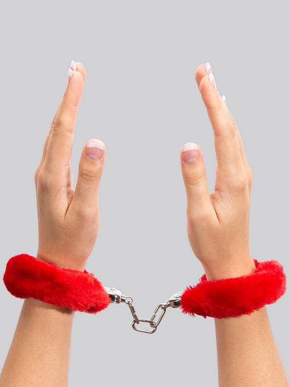 Lovehoney Black Furry Handcuffs, Red, hi-res