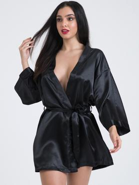 Lovehoney Short Black Satin Robe