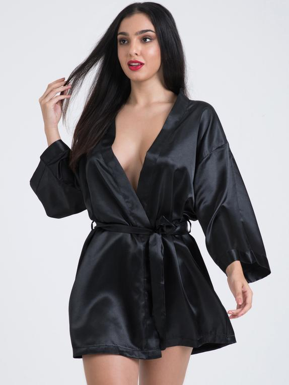 Lovehoney Short Black Satin Robe, Black, hi-res