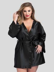 Lovehoney Short Black Satin Robe, Black, hi-res
