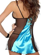 Beauty Night Satin and Lace Turquoise Chemise, Blue, hi-res