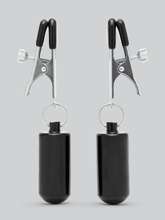 Pinces à tétons lestées de luxe, DOMINIX, Noir, hi-res