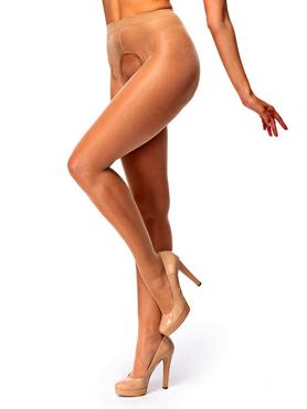 MissO 20 Denier Light Beige Crotchless Tights with Backseam
